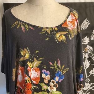 Cynthia  Rowley black floral plus size  top 3x